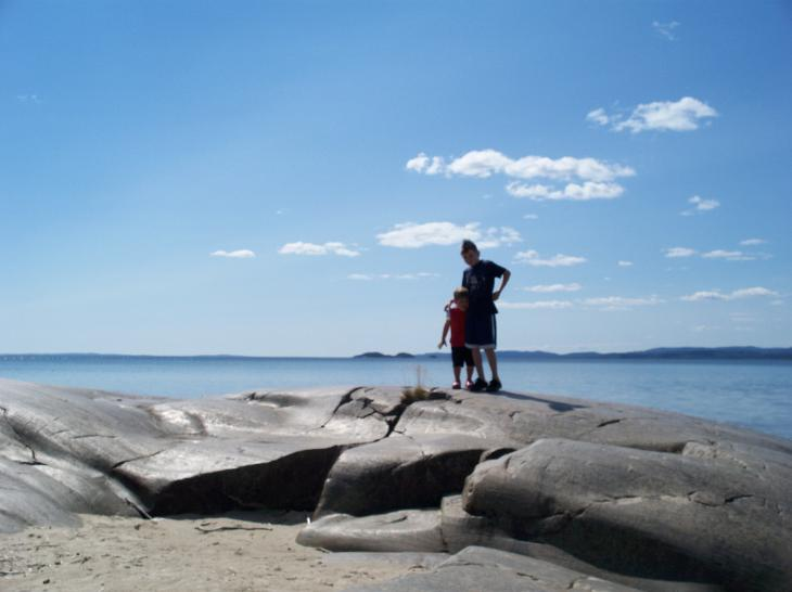 Jordan and Troy Nelson on the North Shore of Lake Superior.