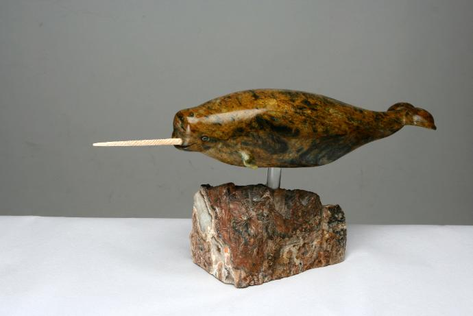 Soapstone Sculptue of a Narwhal